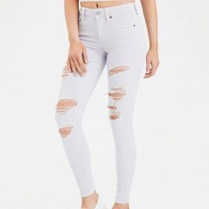 American eagle outfitters white distressed jeans
